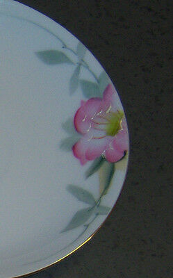 Hand painted flower floral pattern saucers lot of 4 Pink & green gold rim. Four
