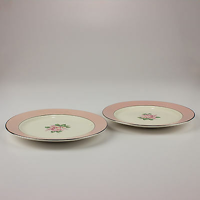 Set of 2 Homer Laughlin Lifetime China Pink Rose Bread & Butter Plates