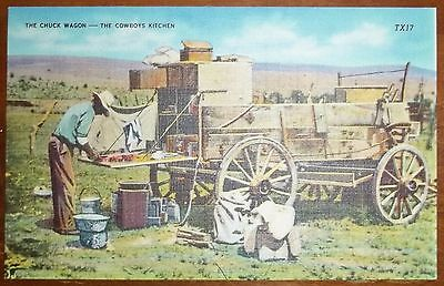 Circa 1940's? The Chuck Wagon The Cowboy's Kitchen TX17 Unused Postcard