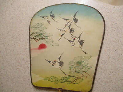 Vintage Hand Held FAN Hand Painted Silk Stork Birds and Sun- Bamboo handle