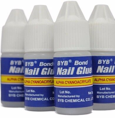 BYB Nail Glue (For Fake Stick-on Acrylic Nails) (x4)