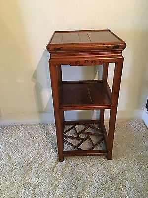 Antique Chinese Rosewood Tall Side Table | 3 Tiered