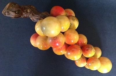 Vintage Grapes Stone Fruit Hand Carved Alabaster Italy Italian Marble Antique A