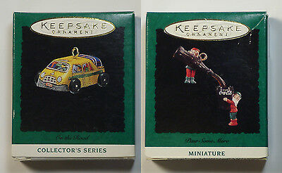 Hallmark Keepsake 'On The Road' & 'Pour Some More' Miniature Ornaments-1993/1994