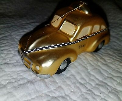 Blown Glass (?) Volkswagen Beetle Bug Taxi Christmas Ornament Decoration