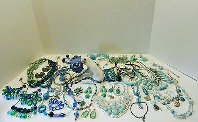 Costume Fashion Jewelry Lot beautiful ring 45 useable items in blues