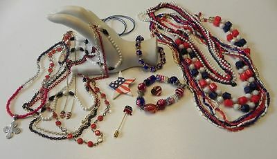 Costume Jewelry Lot Millefiori style bracelet Red White Blue some vintage