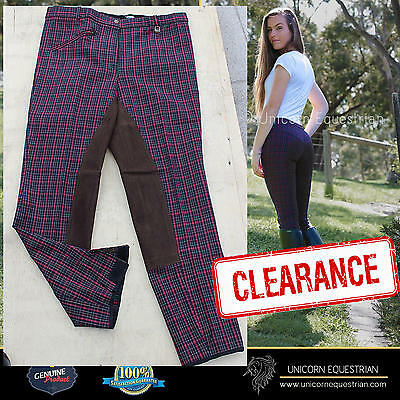 Unicorn Maroon Check Ladies Breeches Leather Seat Velcro Closure at Bottom *NEW
