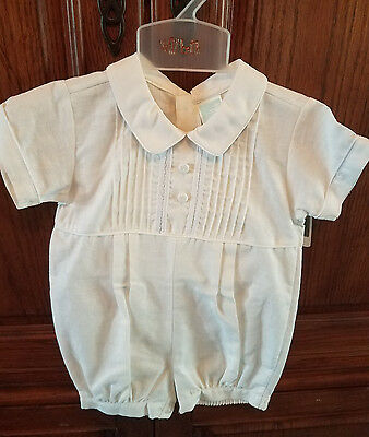 Will'beth Infant Boy White Christening Baptism Shortall with Hat 9 Months Romper
