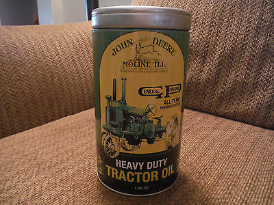 JOHN DEERE Heavy Duty Tractor Oil Metal Tin Coin Bank Collectible
