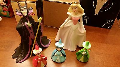 Disney Ceramic Figurines - Sleeping Beauty/Aurora, Maleficent, 3 Fairies