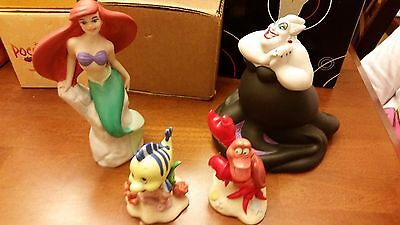 Disney Ceramic Figurines - Ariel, Flounder, Sebastion and Ursula