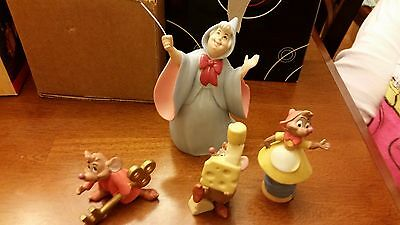 Disney Ceramic Figurines - Cinderella's Fairy Godmother, 3 Mice HTF