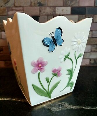 "Lenox Butterflies and Flowers Plant Holder Fine Ivory China Gold Trim 6"" High"