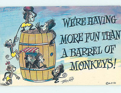 Pre-1980 comic signed MONKEYS LIVING IN A BARREL SHAPED HOUSE HJ2116