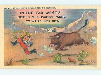 Linen comic OLD WEST COWBOY RUNNING FROM BULL HJ1980