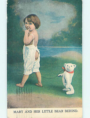 Pre-Linen comic MARY AND HER BARE BEHIND - BEAR BEHIND JOKE HJ4916