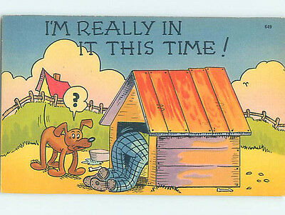 Linen comic DOG WATCHING MAN IN HIS DOGHOUSE HJ2001-12