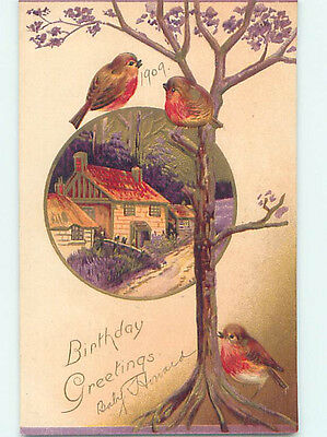 Pre-Linen CUTE BIRDS BY THE TREE & COUNTRY HOUSE BY THE ROAD HJ4468
