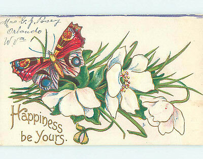 Pre-Linen BEAUTIFUL MULTI-COLORED BUTTERFLY ON WHITE FLOWERS HJ4761