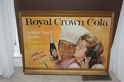 "Vintage Royal Crown RC Cola Cardboard Advertisement with Frame 35"" x 26"""