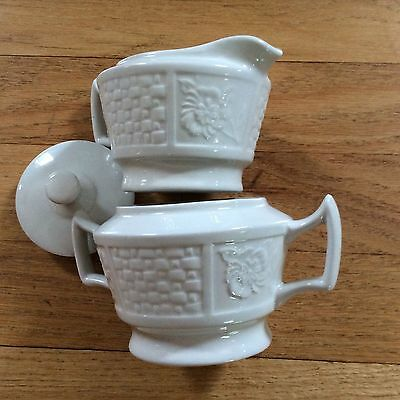Woods Creamer and Sugar Bowl - White England Basketweave and Floral pattern EUC