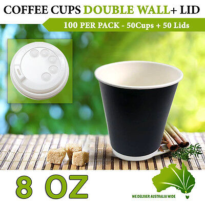 Double Wall Disposable Coffee Cups 8 oz 50 Pc Cups + Lids 50 Pc Double Wall Bulk