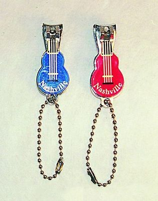 Guitar Shaped Nail Clippers Nashville Souvenir  1Red and 1Blue - Qty 2 NEW CLIPS