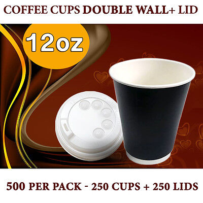 Double Wall Disposable Coffee Cups 12 oz 250Pc Cups+Lids 250 Pc Double Wall Bulk