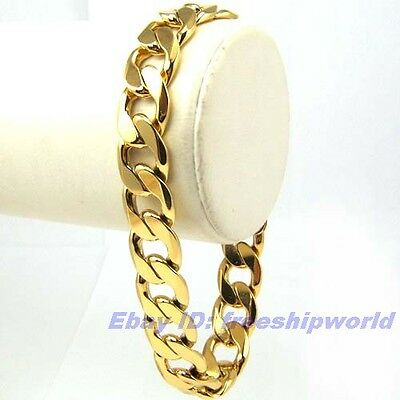 "24 pcs Wholesale lots 8.5""12mm32g BRACELET REAL 18K YELLOW GOLD GP SOLID FILL"