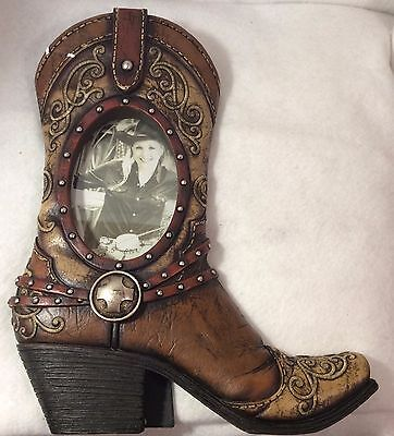 Cowboy Boot Western Brown Oval Shaped Photo/Picture Frame Gift