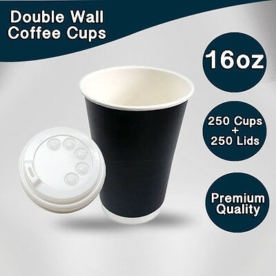 Disposable Paper Double Wall Coffee Cups 16 oz 250Pc Cups+Lids 250 Pc Bulk