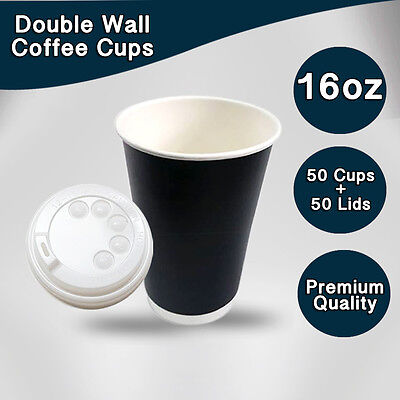 Double Wall Disposable Coffee Cups 16 oz 50Pc Cups+Lids 50 Pc Paper Cups Bulk