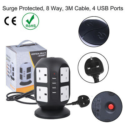 2 Way Gang 3M Extension Lead 13A 250V AC Trailing UK Plug Socket With 2 USB Port
