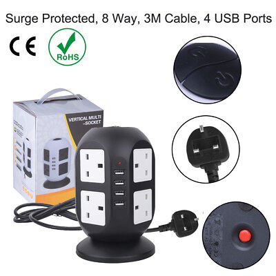 8 Way Gang 3M Extension Tower Lead 10A Trailing UK Plug Socket With 4 USB Port