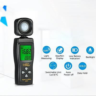 Digital Illuminance Light Meter 200000 Lux Photometer Luxmeter Lcd Display Black