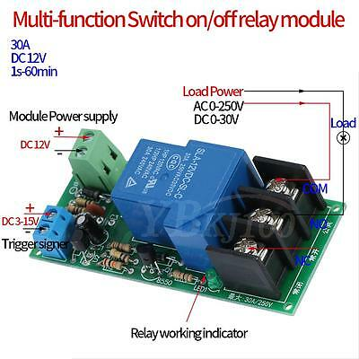DC 12V 30A Multifunction Adjustable Delay Timer Relay On/Off Module High Power