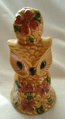 "Vintage Owl Bell 4.5"" H Made in Japan Blue Label Hand Painted"