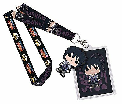 Funko Naruto Shippuden Sasuke Uchiha POP Lanyard ID Badge Holder PVC Charm New