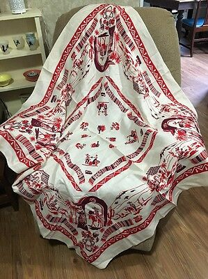 "Vtg Southwest Mexican Fiesta Tablecloth  Red Maroon 49"" Square"