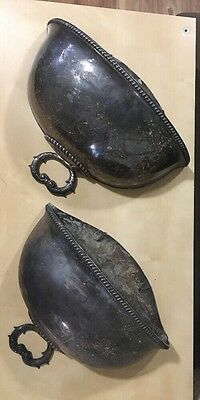 "Vintage  Silverplate Dome Wall Pocket Planter  Pair 14"" x 11"" tarnished"