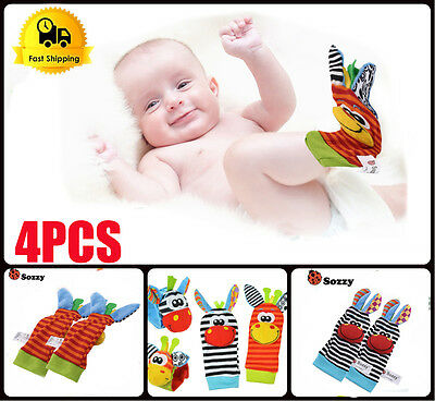 2 set Cute Animal Infant Baby Kids Hand Wrist Bell Foot Sock Rattles Soft Toy VP