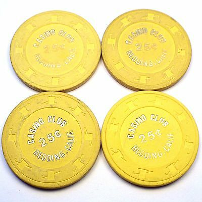 Lot of 4 CASINO CLUB Chips 25c 25 Cent Redding, CA California