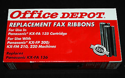 Office Depot Model Replacement Fax Ribbons Panasonic KX-FA 136 Cartridge NEW