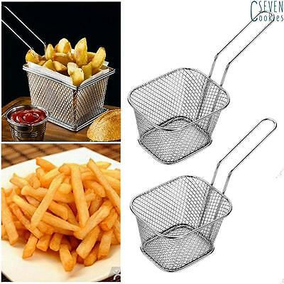 8pcs Mini Restaurant Frying Chips Basket Fryer Kitchen Serving Food Presentation