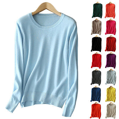 Ladies Womens 100% Cashmere Jumper Sweater 100% Pashmina Jumper O Neck Hot Cosy