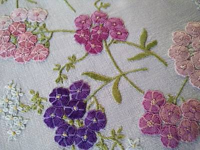 "Glorious Hydrangea ~ Raised Hand Embroidered Vintage Tablecloth 42""x43+"""