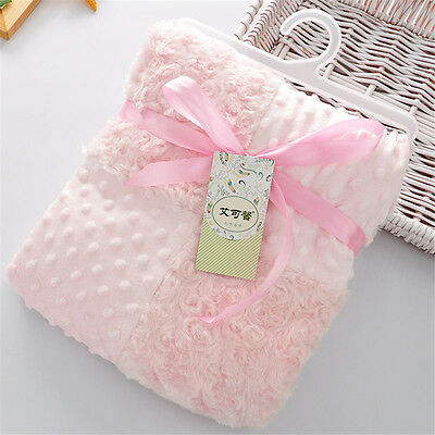 Baby Bed Blanket Patchwork Coral Fleece Throw Blanket Infant Furry Super Soft