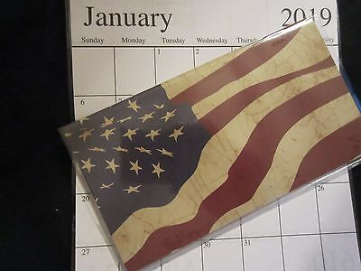 1 - 2018 - 2019  Waving AMERICAN Americana FLAG - 2 YEAR Pocket Planner Calendar