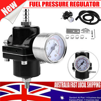 Black Universal Fuel Pressure Regulator Gauge & Hose Kit 0-140 Psi Adjustable Au